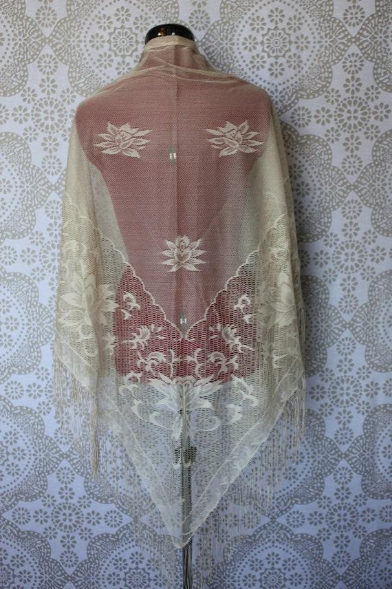 Vintage 1960's 70's Beige Floral Shawl Made in Japan