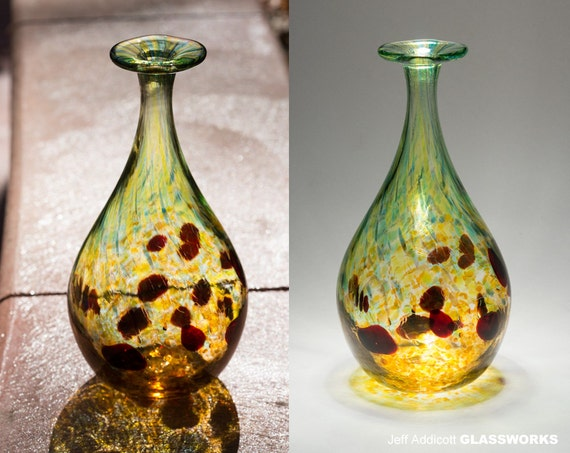 SALE: Green/Amber Hand-Blown Glass Bud Vase