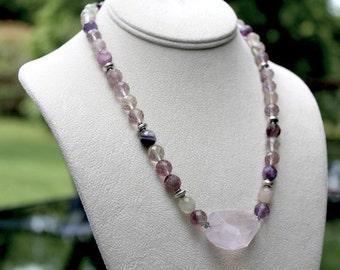 Fluorite, Rose Quartz, Rose Quartz pendant, Sterling Silver, Necklace, Rainbow Fluorite, yoga inspired jewelry, yoga jewelry, stone pendant