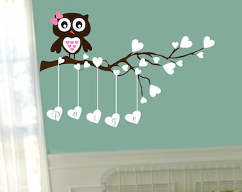 Owl Name Wall Decal Baby Girl Boy Vinyl Branch Decor