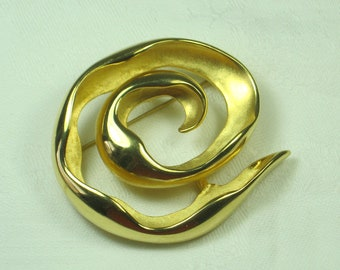 Vintage SWIRL BROOCH Heavy Gold Pin Scarves Gift