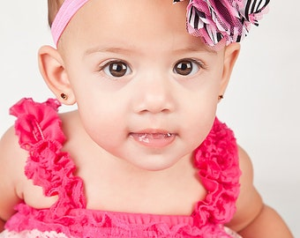 Baby Girl Headband - Hot Pink and Zebra Stripe Puff Flower on Hot Pink Elastic Headband