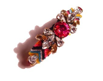 The Original Embroidered Swarovski Statement Rhinestone Friendship Bracelet - Pink Passion (made to order)