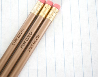 stay gold! engraved pencil set of three in gold.