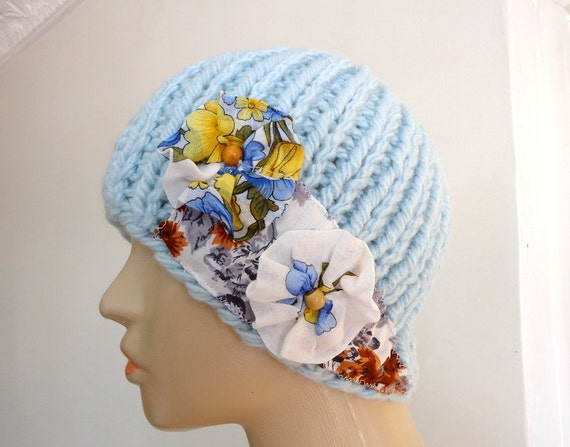 Handknit  beanie hat hand embroidered  fabric flowers light blue white yellow floral