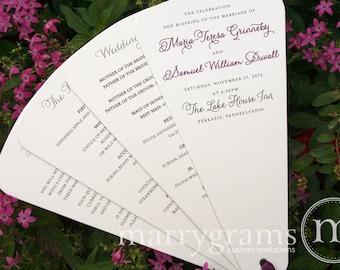 Wedding Program Fans 4 Blade Petal Programs Satin Ribbon - Customizable Elegant Fan Programs - Summer Wedding Custom Colors (50ct) SS01