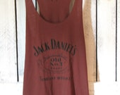 FREE SHIPPING- Rustic Red Jack Daniels Tank, Hipster Tank Top, Jack Daniels Shirt (woman, teen girl) size MEDIUM