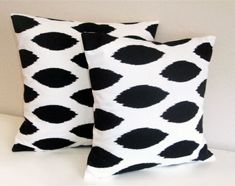 Black Ikat Pillow Covers - 18 x 18 Inch - Two Decorative Pillows - Throw Pillow Covers - Black and White Ikat