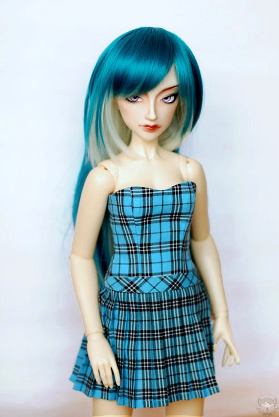 BJD Clothes Aqua Plaid Dress For SD Delf