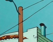 "Streetlight in Bernal Heights,  8""x10"" Giclee Print of Original Oil on Canvas"