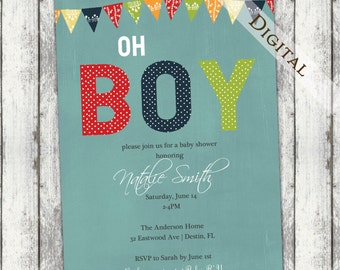 Boys baby shower invitation, modern, baby shower invitations, yellow green blue red, digital, printable file (item135a)