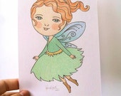 CLEARANCE SALE Original Illustration Pencil Drawing Nursery Children's Art - The Woodland Fairy by Amalia K