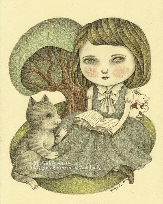 HALF PRICE 50% DISCOUNT Original Fairy Tale Art, Pencil Drawing, Alice in Wonderland Inspired, Nursery Art, Children's Room,