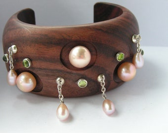Mother's Day Wooden cuff with pastel pearls and peridot by Kay Knight Designs