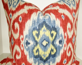BOTH SIDES 20 x 20 ikat pillow cover red white blue yellow Iman Ubud gem