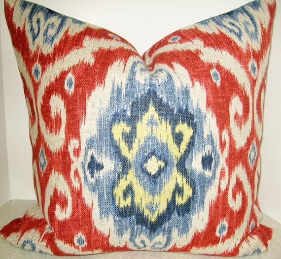 both sides 20 x 20 ikat pillow cover red white blue
