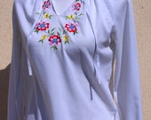 Hippie Vintage Shirt, Embroidered Blouse, Hippie Shirt, White Embroidered Blouse Vintage 80s 70s