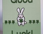 Cute Bunny Clover Good Luck Blank Greeting Card