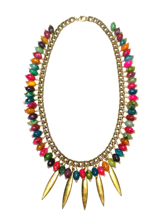 Summer Cluster Necklace-Fringe Necklace, Trendy, Multicolored Necklace, Beadwork, Beaded Necklace, Stone Necklace