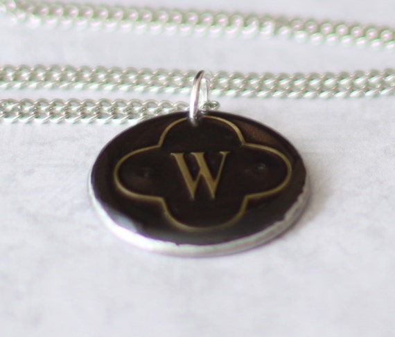 Initial W Necklace, Upcycled  Wine Foil Washer Necklace, Stainless Steel