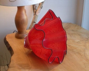 Hand Blown Glass Bowl - Shell Bowl Form - Mottled Blazing Red - by Jonathan Winfisky