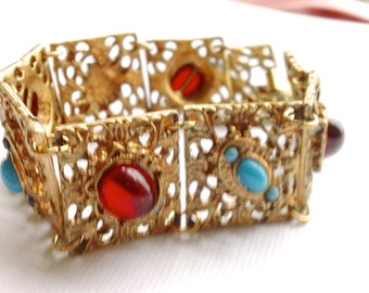 Red & Turquoise Cabochon Panel Gilt Link Bracelet Retro Jewelry Fashion Accessory