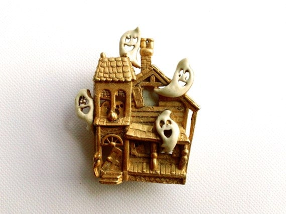 Halloween Vintage Brooch with Eerie Sounds Halloween Pin Fun Whimsical
