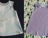 Reversible baby dress, baby girl dress, Christmas dress with reindeers (two dresses in one)