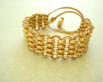 Brushed Gold Chain and Leather Bracelet