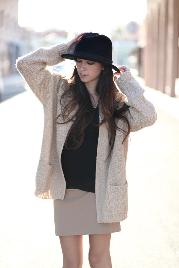 Fall Neutral Light Brown Taupe Comfy Knit Pocket Cardigan - Bonnie