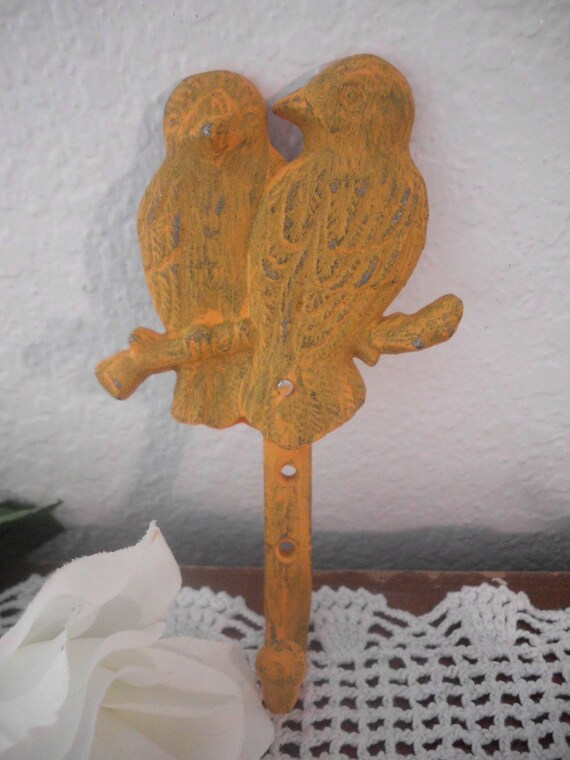 Orange Love Bird Rustic Wall Hook Cast Iron Wall Hook Beach Cottage French Country Farmhouse Southern Home Decor Kitchen Bedroom Bath
