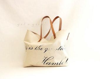 SHAKESPEARE.. HAMLET vintage beige tote bag... PERSONALIZED label