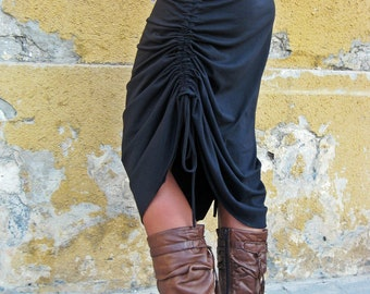Black skirt, Convertible skirt, Midi Skirt, Adjustable skirt, Womens skirt, Long Skirt