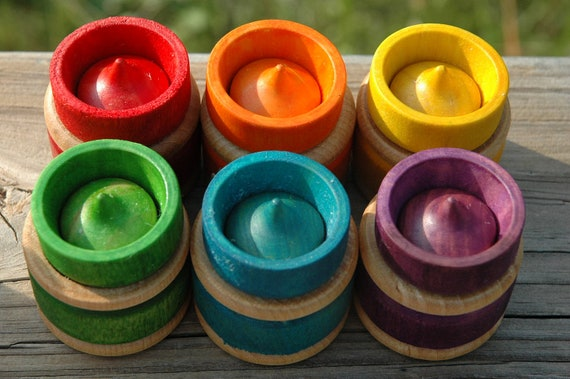 Wooden Toy Montessori Inspired Matching Sorting Stacking Rainbow Puzzles