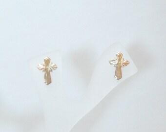 Whitaker's Black Hills Gold Petite Cross Earrings