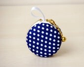 Denim polka dots macaron coin purse - change wallet, mini case purse