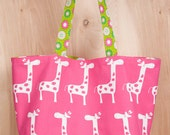 Valentine Tote bag- Cotton- Hot Pink Giraffe- Hearts- Stripes- by beckyzimmdesign