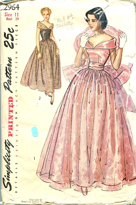 1940s Evening Dress Pattern Simplicity 2964 Junior Wedding Bridal Full Skirt Formal Gown Bust 29 Womens Vintage Sewing Pattern