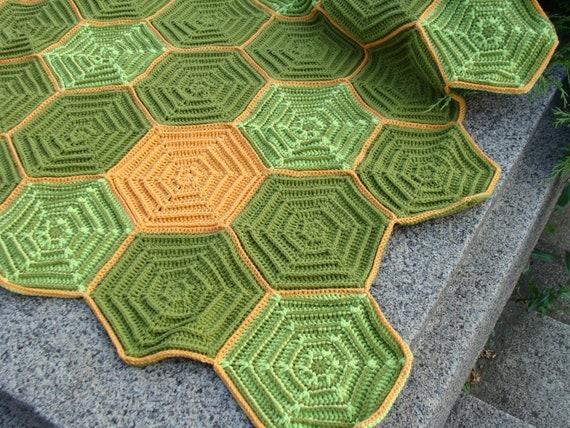 Geometric hexagon afghan, turtle blanket,  colorful, handmade, crochet, patchwork, bed cover, duvet, carpet, cozy, orange, green