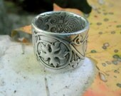 Leaf Ring - Renaissance Wedding Band - Medieval Ivy Vine - Artisan Handcrafted with Reclaimed Fine Silver - Silvan Arts