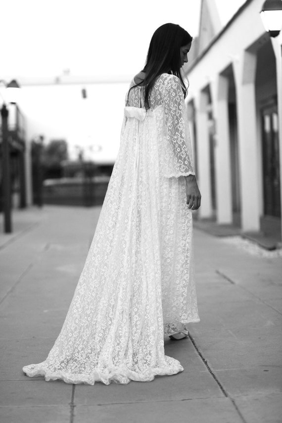 White Lace Empire Waist Wedding Dress Cape Train - Audrey