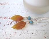 Glass Leaf Beadwork Dangle Earrings - Drop Earrings