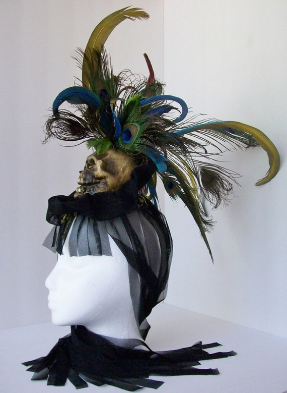 Skull Mohawk Feather Headpiece With Sheer Black Wig