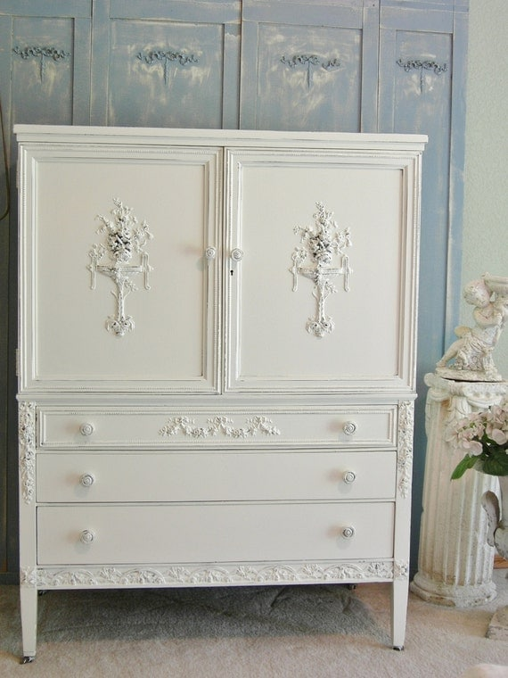 On Sale Antique Dresser Chifferobe Highboy Chic Roses Sligh