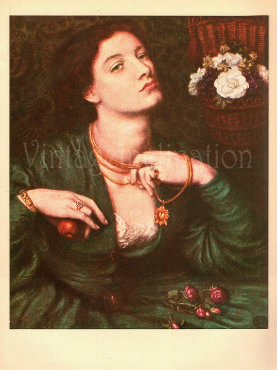 Antique Print 1939, MONNA POMONA by Rossetti, 1800s pre raphaelite, beautiful wall art vintage illustration turquoise