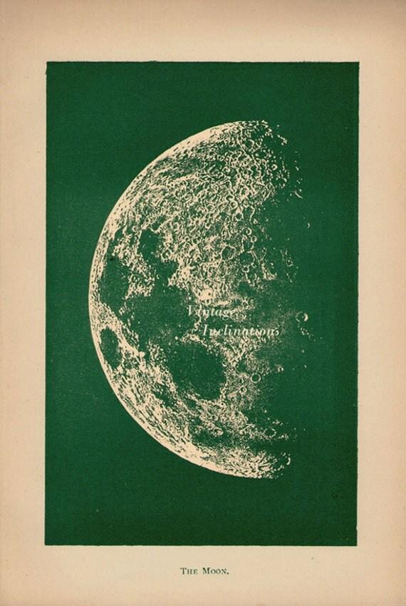 Moon landscape Antique Print printed 1887