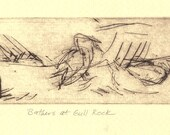 "Bird Drypoint Print ""Bathers at Gull Rock"""