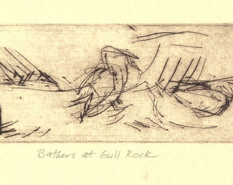 "Bird Drypoint Print ""Bathers at Gull Rock"""