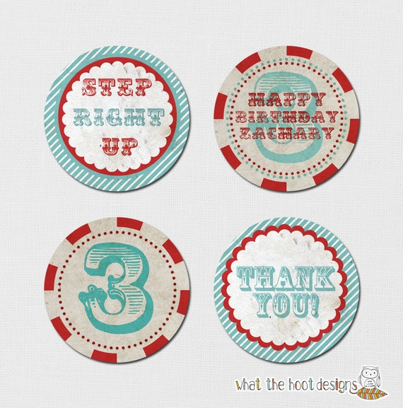 Custom Vintage Circus - Printable Gifts tags, Cupcake Toppers, Favor Tag - DIY