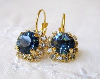 Navy Blue Swarovski crystal drop earrings, Gold earrings, Crystal drop earrings, deep blue earrings, Bridal earrings, Bridesmaids gifts